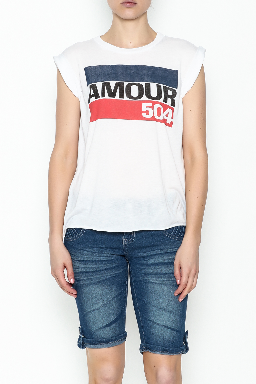 Sarah Ott Rolled Cuff Muscle Tee - Front Full Image