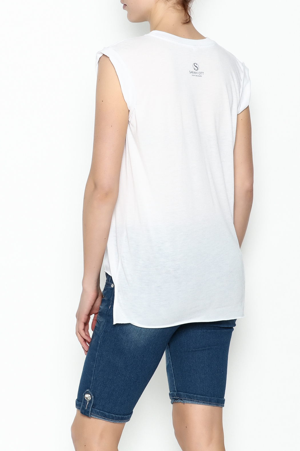 Sarah Ott Rolled Cuff Muscle Tee - Back Cropped Image