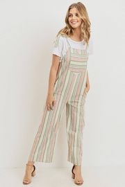 Paper Crane Sarah Striped Smocked Jumpsuit - Front full body