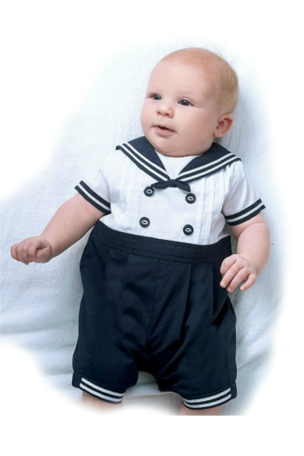 Sarah Louise Baby-Boy Sailor-Shortall-With-Hat - Front Full Image