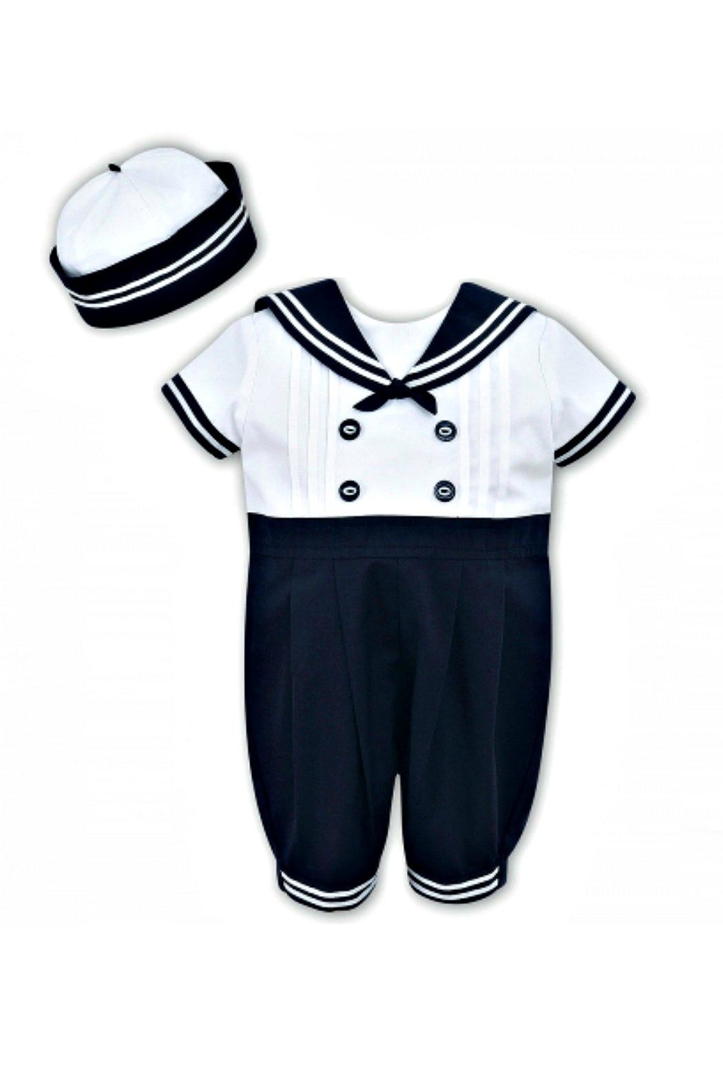 Sarah Louise Baby-Boy Sailor-Shortall-With-Hat - Front Cropped Image