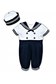 Sarah Louise Baby-Boy Sailor-Shortall-With-Hat - Front cropped