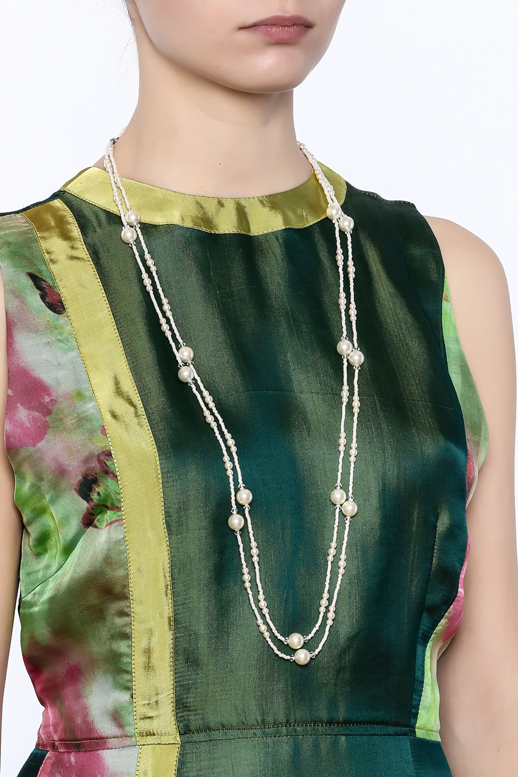 Sarapaan Long Pearl Off White Neclace - Back Cropped Image