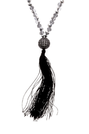 Sarapaan Long Black Tassel Necklace - Product Mini Image