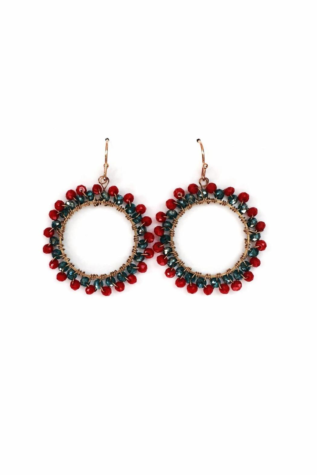 Sarapaan Red Circle Earrings - Main Image