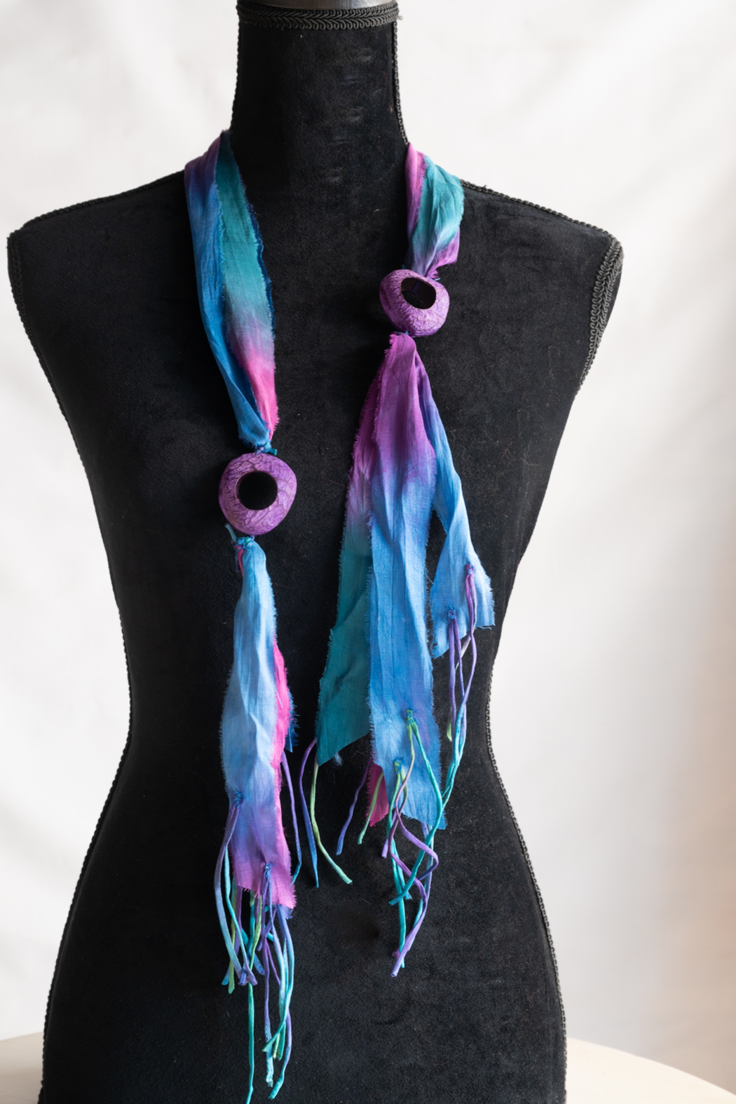 Handmade by CA artist Sari Silk Blueberries & Grapes Scarf-Necklace - Main Image