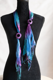 Handmade by CA artist Sari Silk Blueberries & Grapes Scarf-Necklace - Product Mini Image