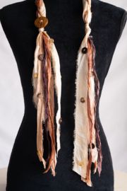 Handmade by CA artist Sari Silk Cafe Latte Scarf-Necklace - Front cropped