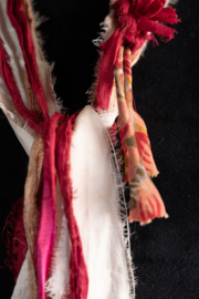 Handmade by CA artist Sari Silk Cranberries & Cream Scarf-Necklace - Front cropped