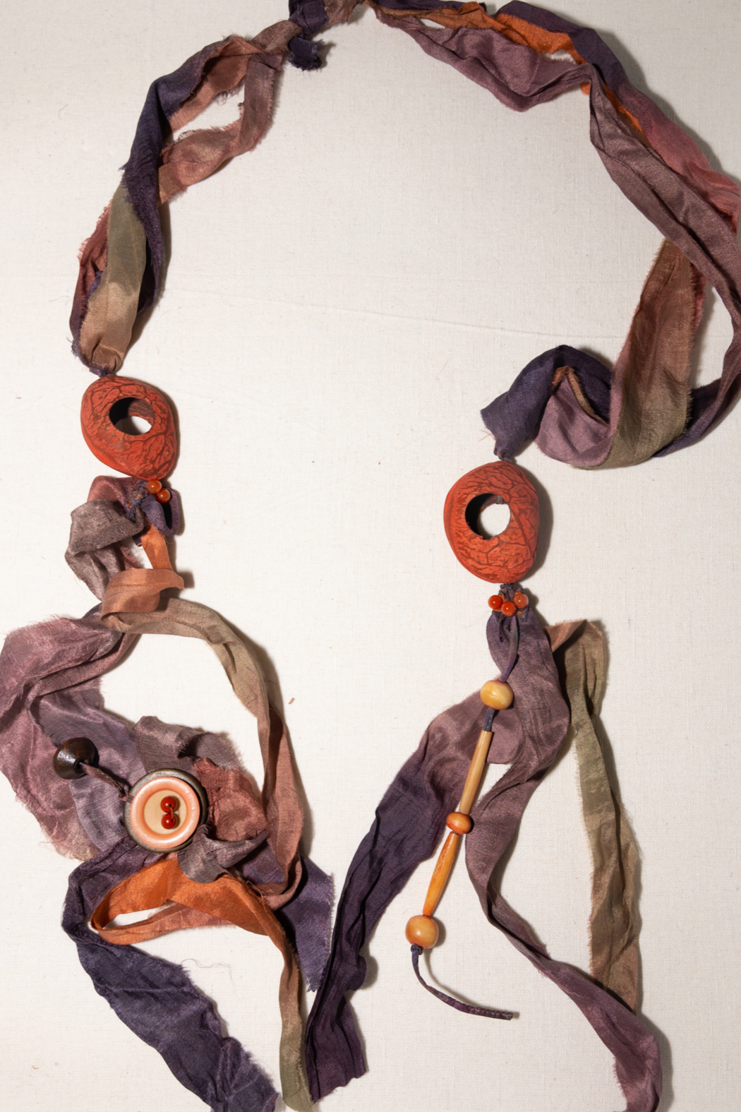 Handmade by CA artist 100% Silk Scarf/Necklace - Side Cropped Image