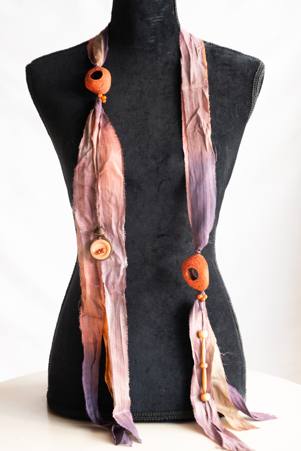 Handmade by CA artist 100% Silk Scarf/Necklace - Front Full Image