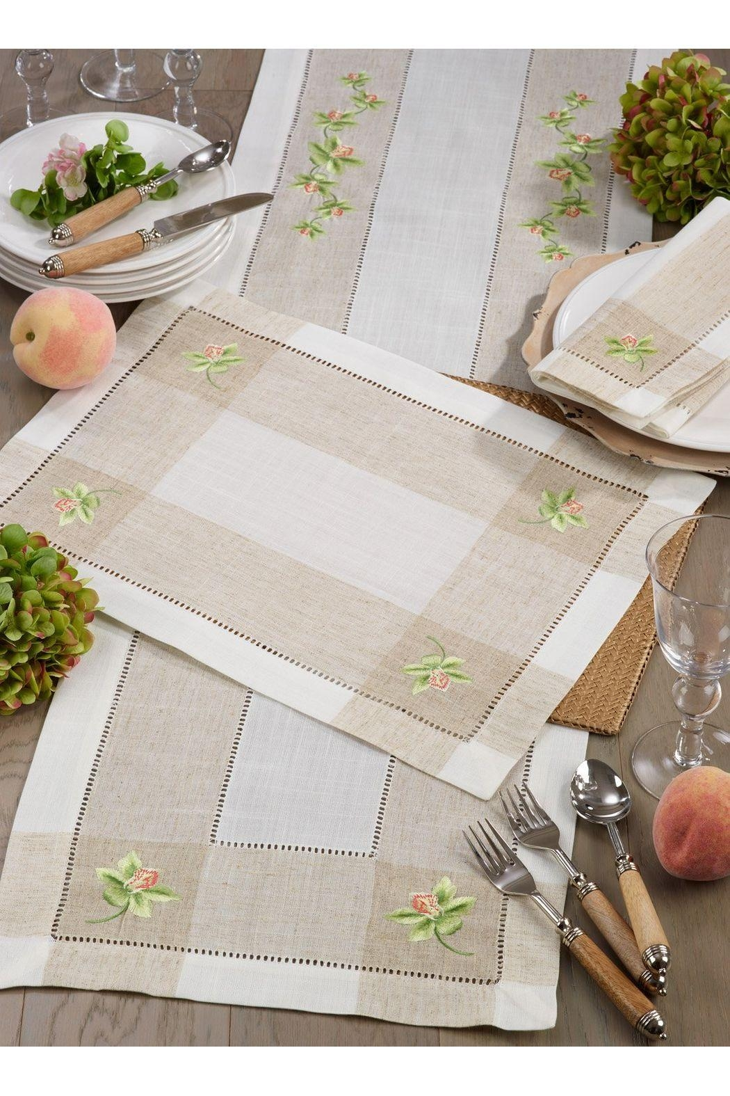 Saro Embroidered Orchid Table Runner - Main Image