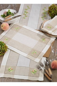 Saro Embroidered Orchid Table Runner - Alternate List Image