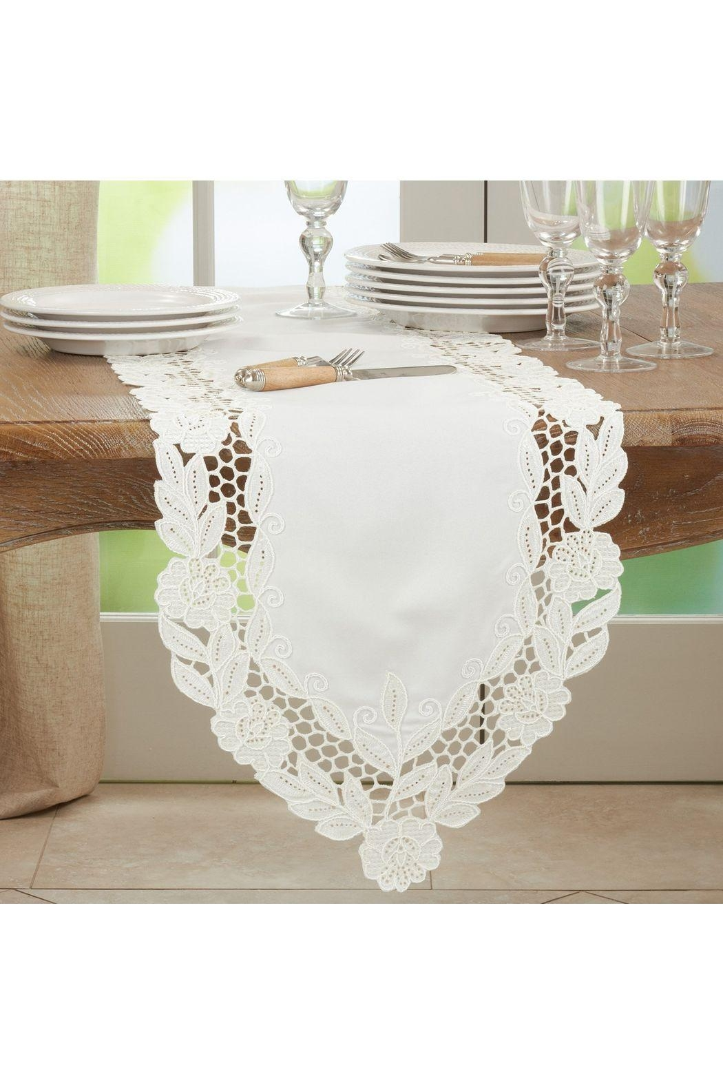 Saro Floral Embroidered Table Runner - Main Image