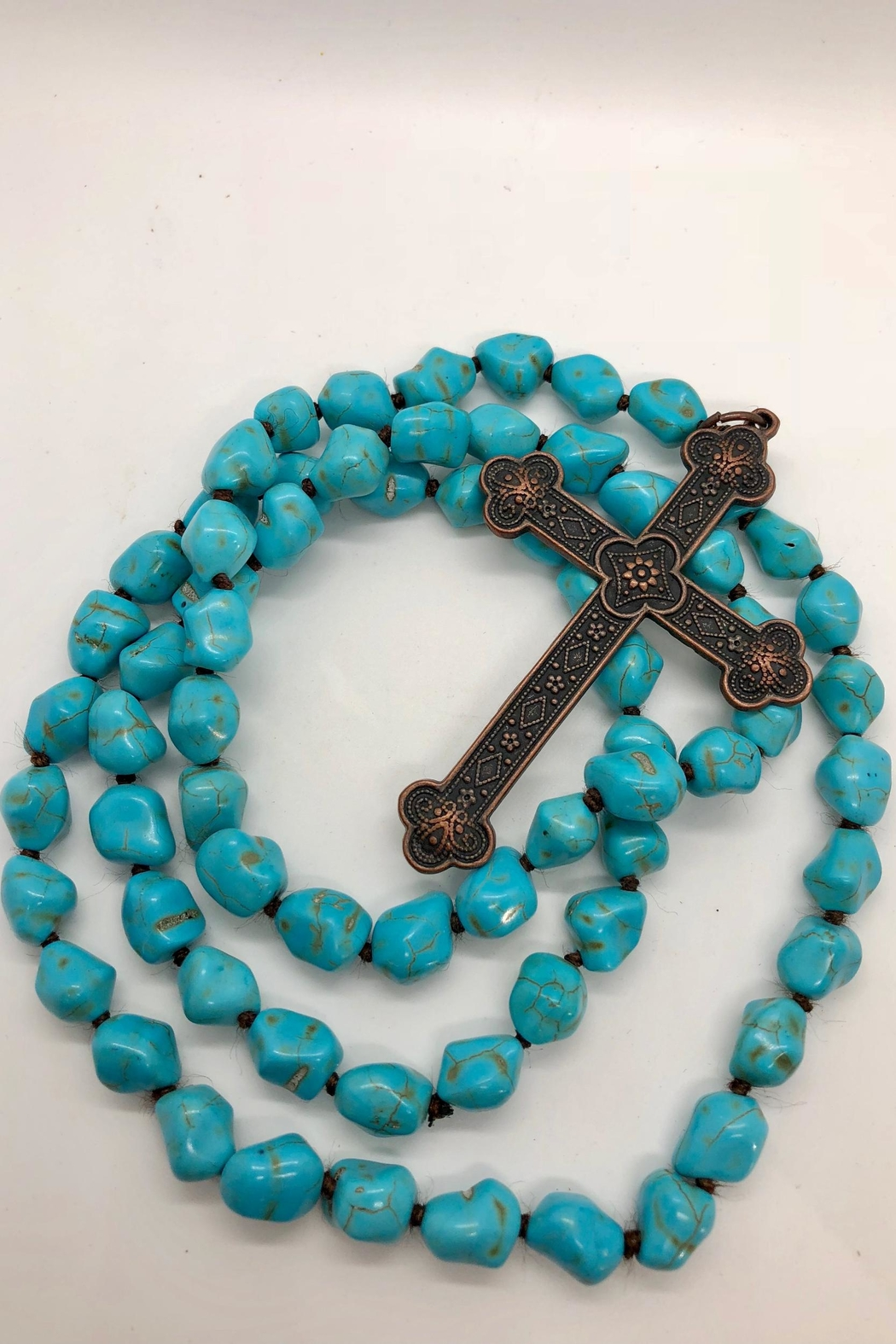 sassy Bling Turquoise Cross-Pendant Necklace - Front Full Image