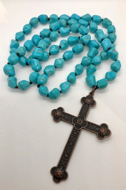 sassy Bling Turquoise Cross-Pendant Necklace - Side cropped