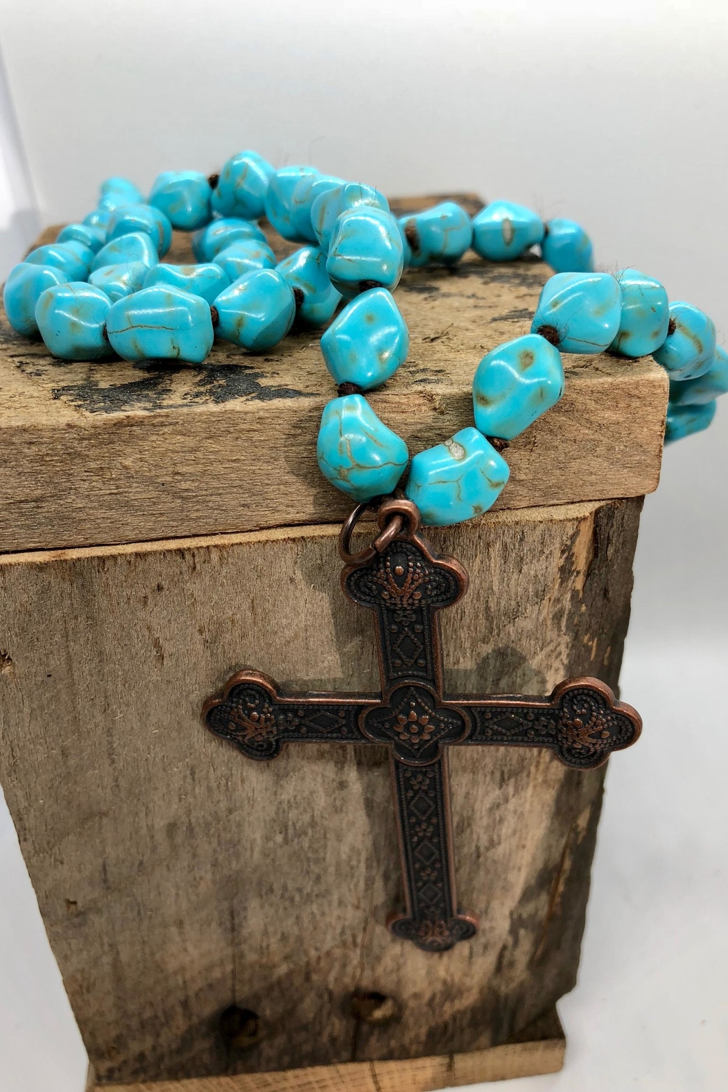 sassy Bling Turquoise Cross-Pendant Necklace - Main Image
