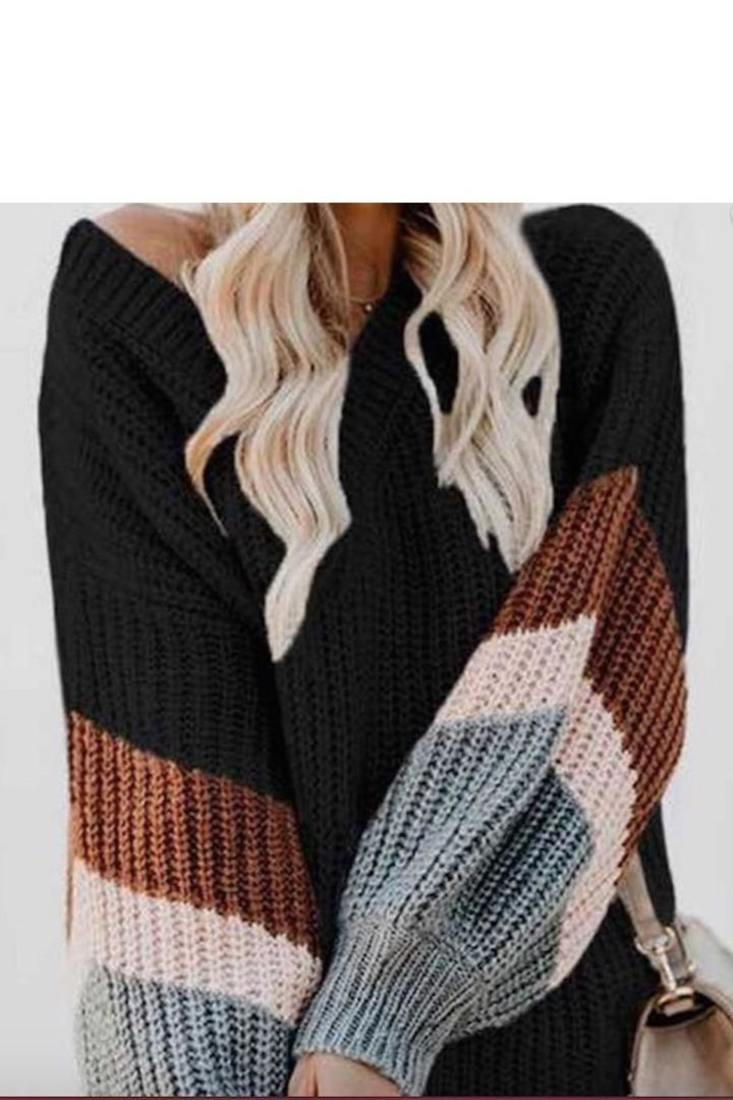 Sassy Couture Color Block Sweater Contrast - Main Image