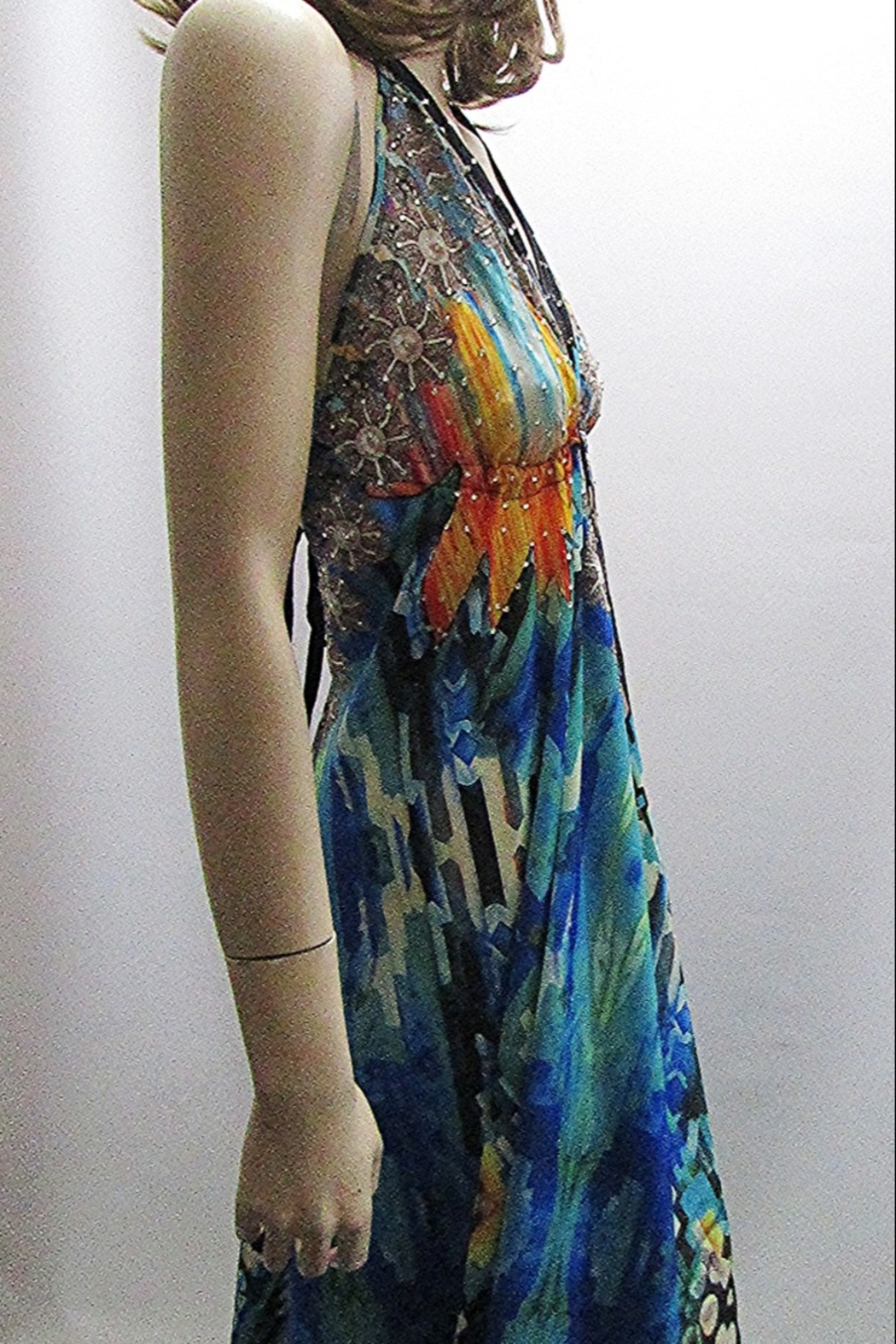 Indian Tropical SATEEN PRINT HALTER DRESS - Side Cropped Image