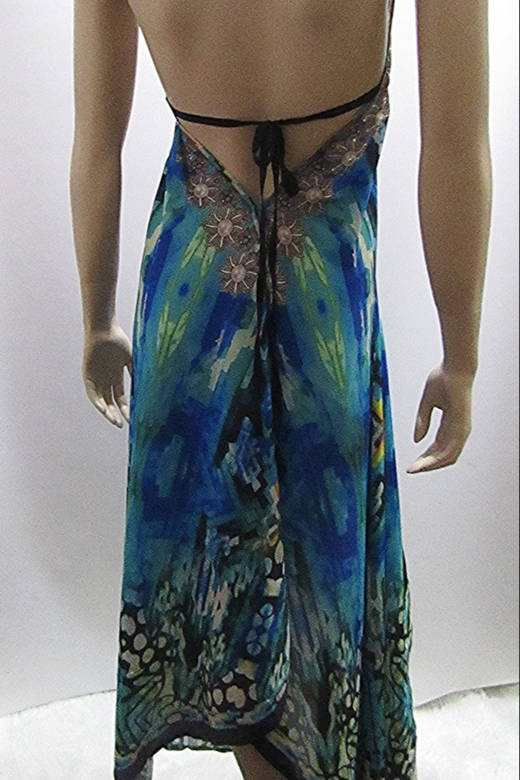 Indian Tropical SATEEN PRINT HALTER DRESS - Back Cropped Image