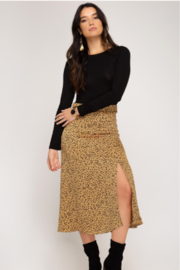 She and Sky Satin A line Midi Printed Skirt - Front cropped