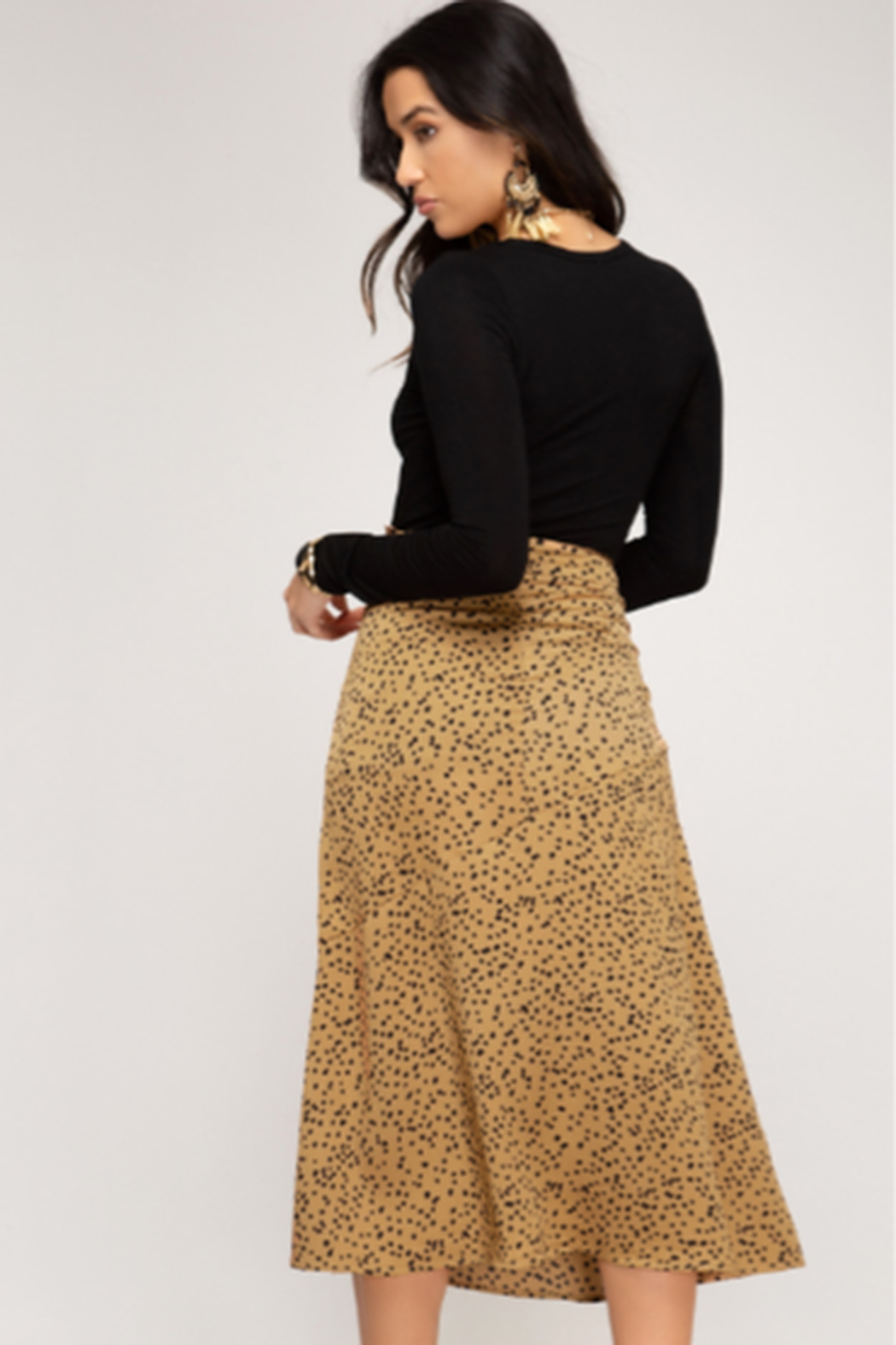 She and Sky Satin A line Midi Printed Skirt - Front Full Image