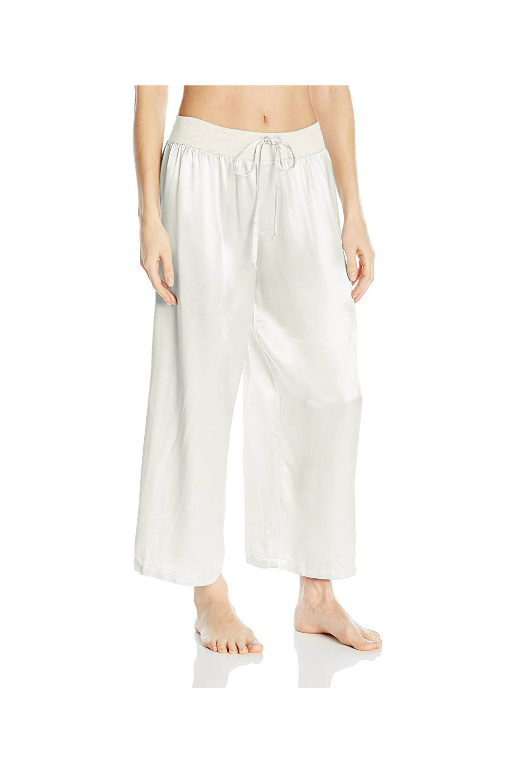 PJHARLOW Satin Ankle Pant With Rib Waistband And Adjustable Drawstring - Front Cropped Image