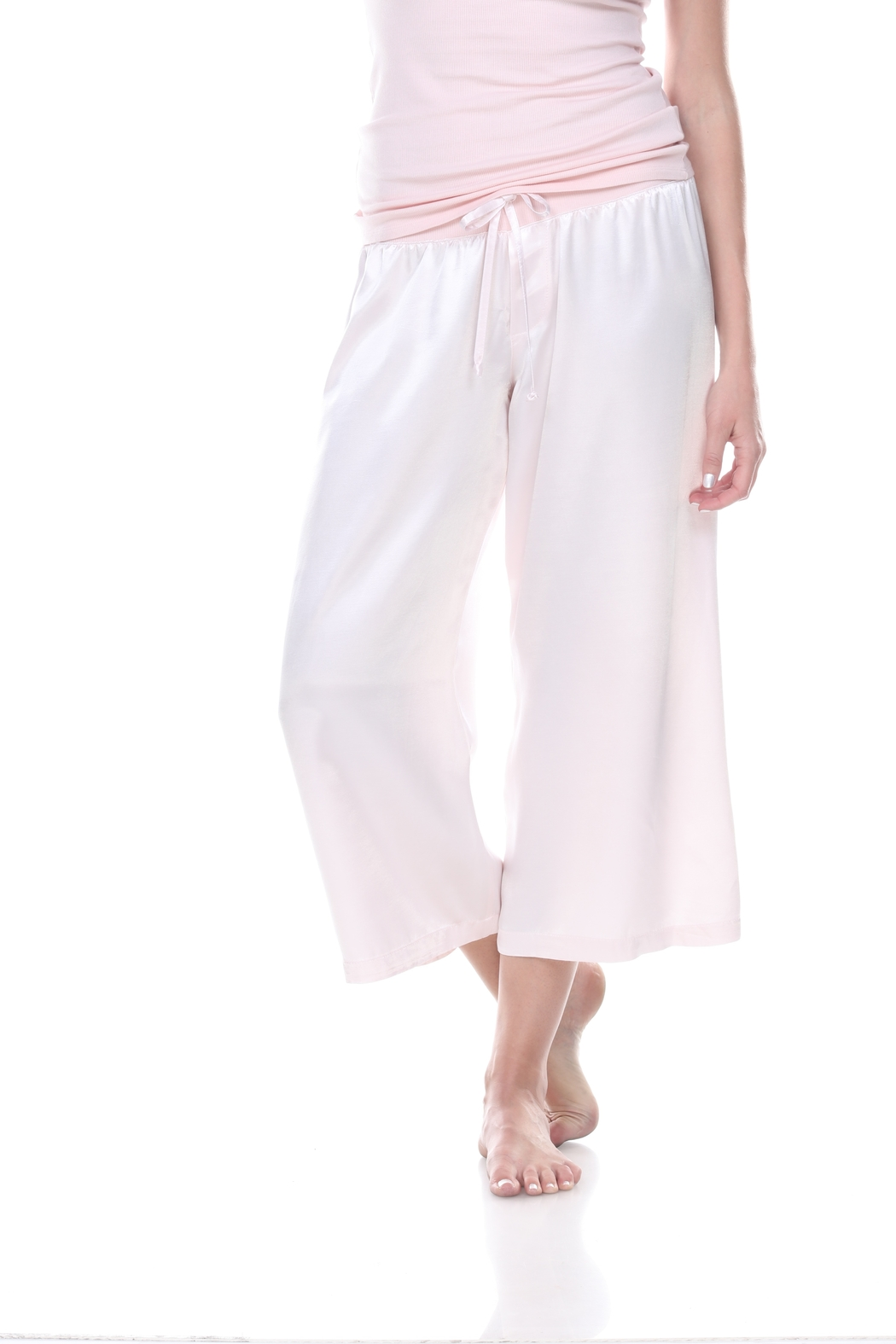 PJHARLOW Satin Ankle Pant With Rib Waistband And Adjustable Drawstring - Main Image