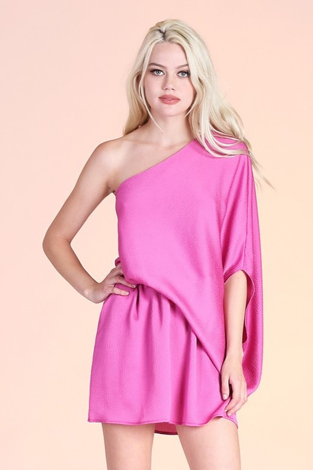 Tyche Satin Asymmetric Dress - Front Cropped Image