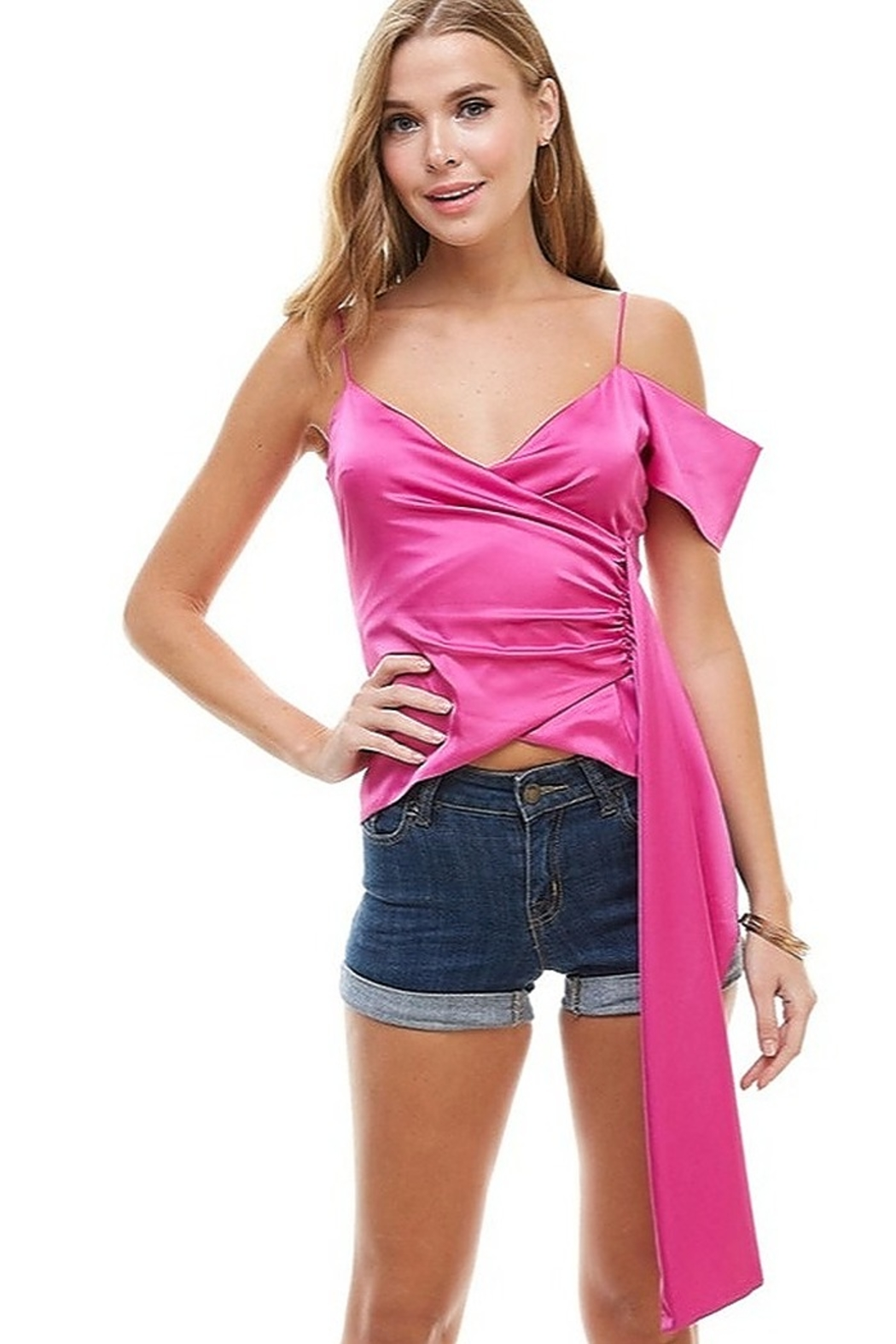 TCEC Satin Asymmetric Top - Front Cropped Image