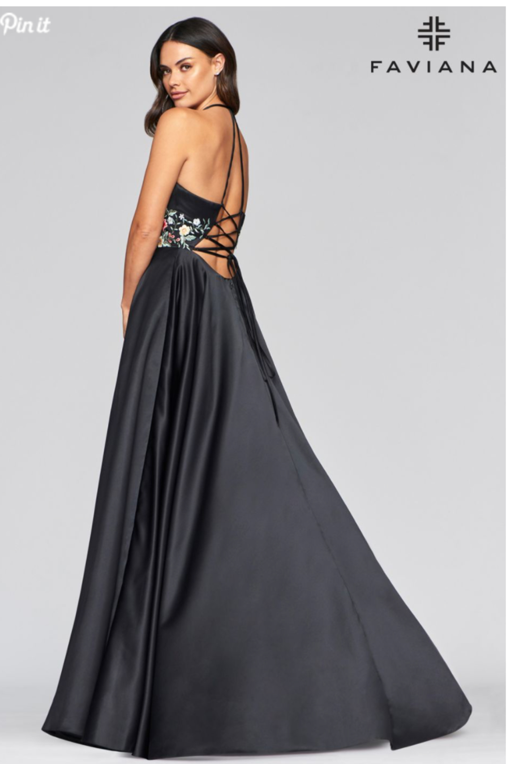 Faviana Satin Ball Gown - Back Cropped Image