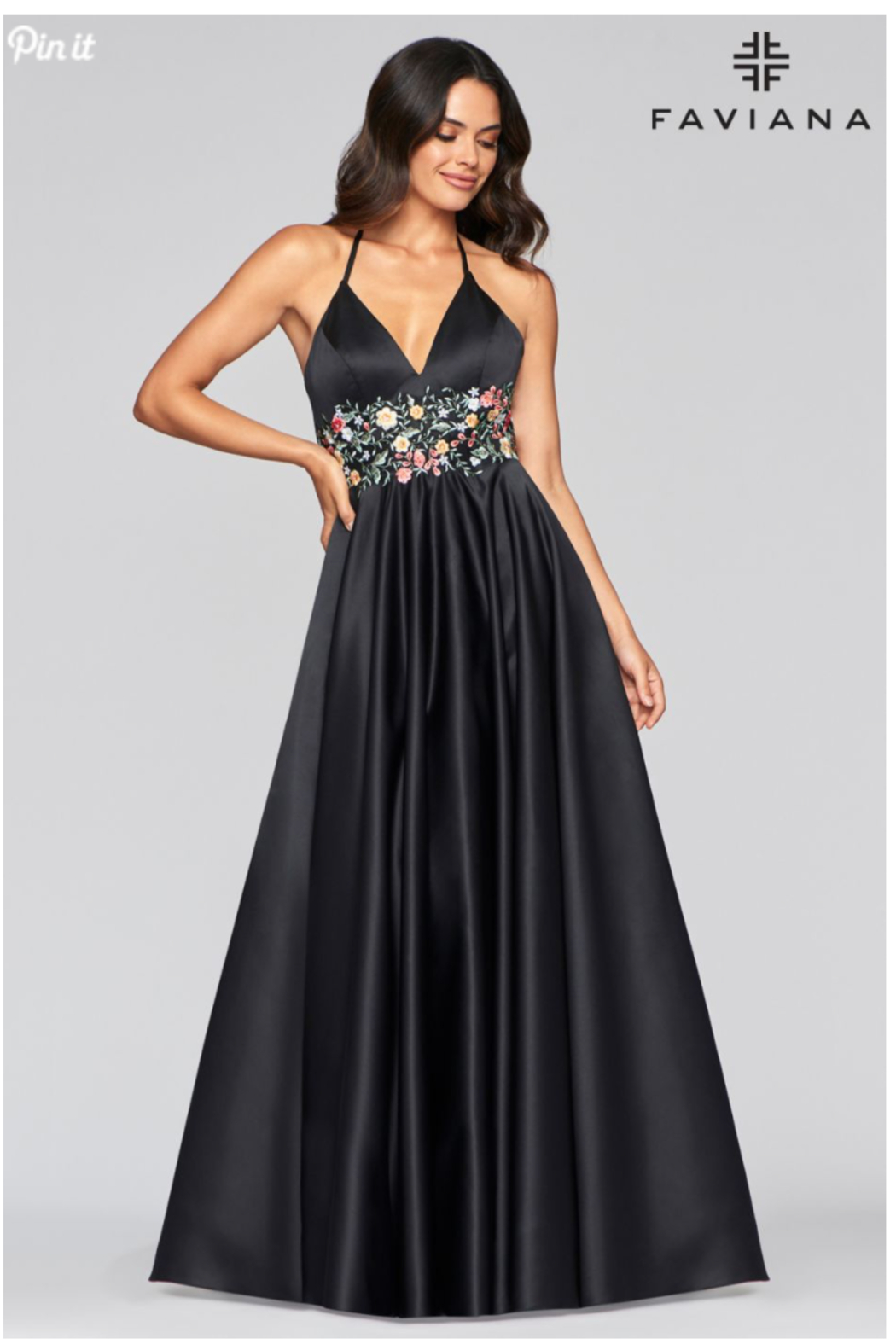 Faviana Satin Ball Gown - Side Cropped Image