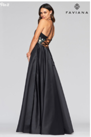 Faviana Satin Ball Gown - Front full body