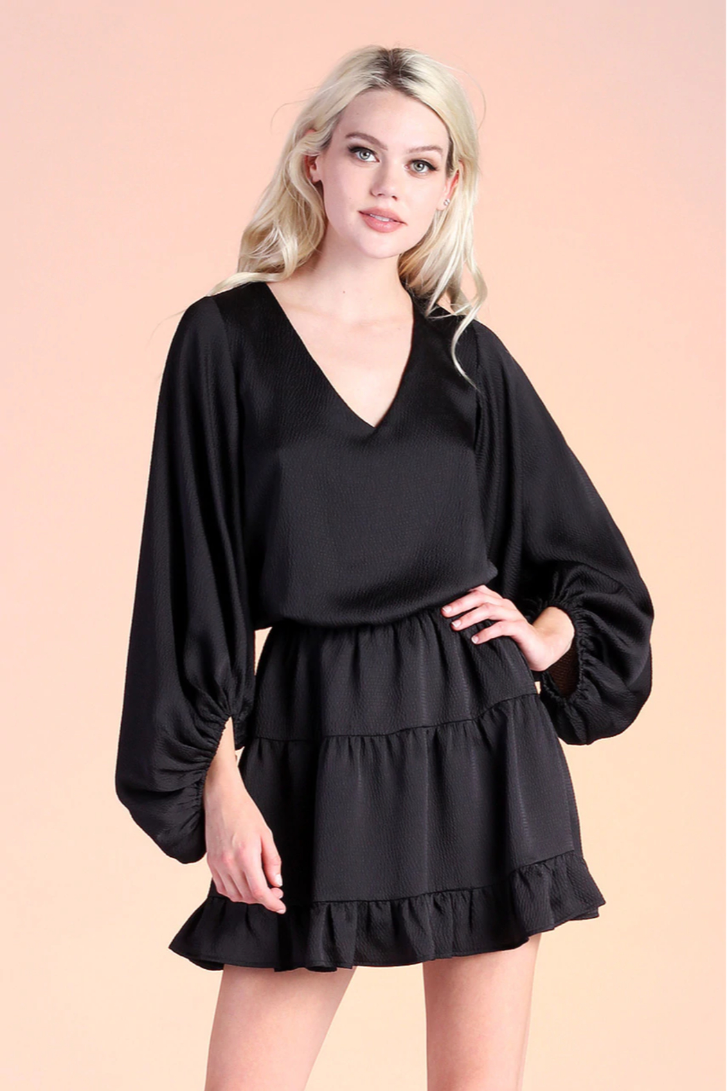 Tyche Satin Balloon Sleeve Dress - Front Cropped Image
