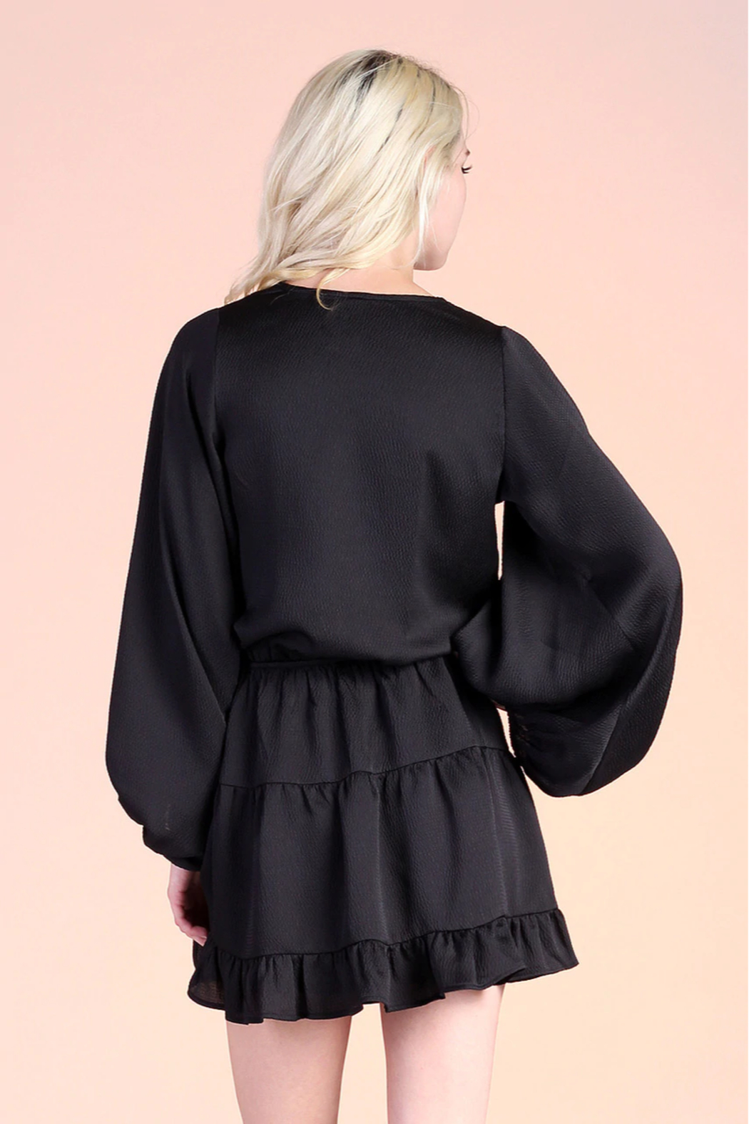 Tyche Satin Balloon Sleeve Dress - Side Cropped Image