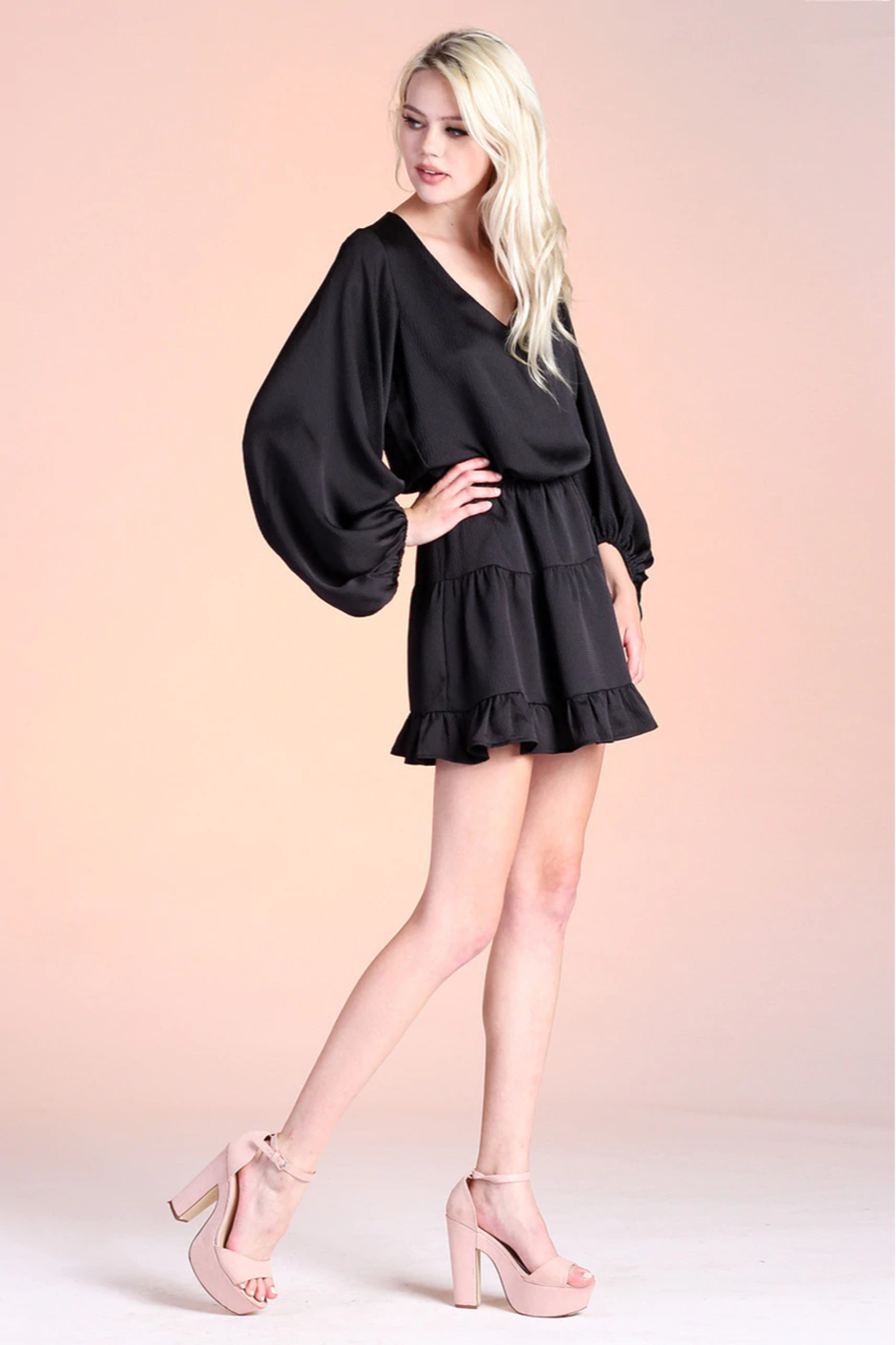 Tyche Satin Balloon Sleeve Dress - Back Cropped Image