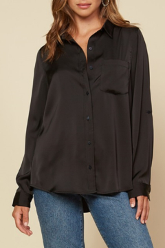 Skies Are Blue Satin Button Down Shirt - Product List Image