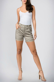 Bianco Jeans Satin Button Front Short - Front cropped