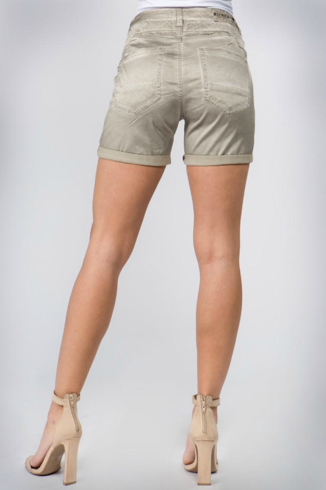 Bianco Jeans Satin Button Front Short - Front Full Image