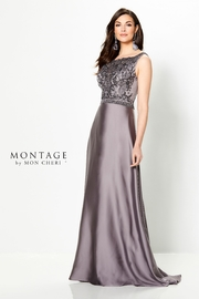 Montage Satin Crepe A-Line Gown, Dark Mink - Product Mini Image