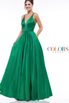colors Satin Emerald Gown - Product List Image