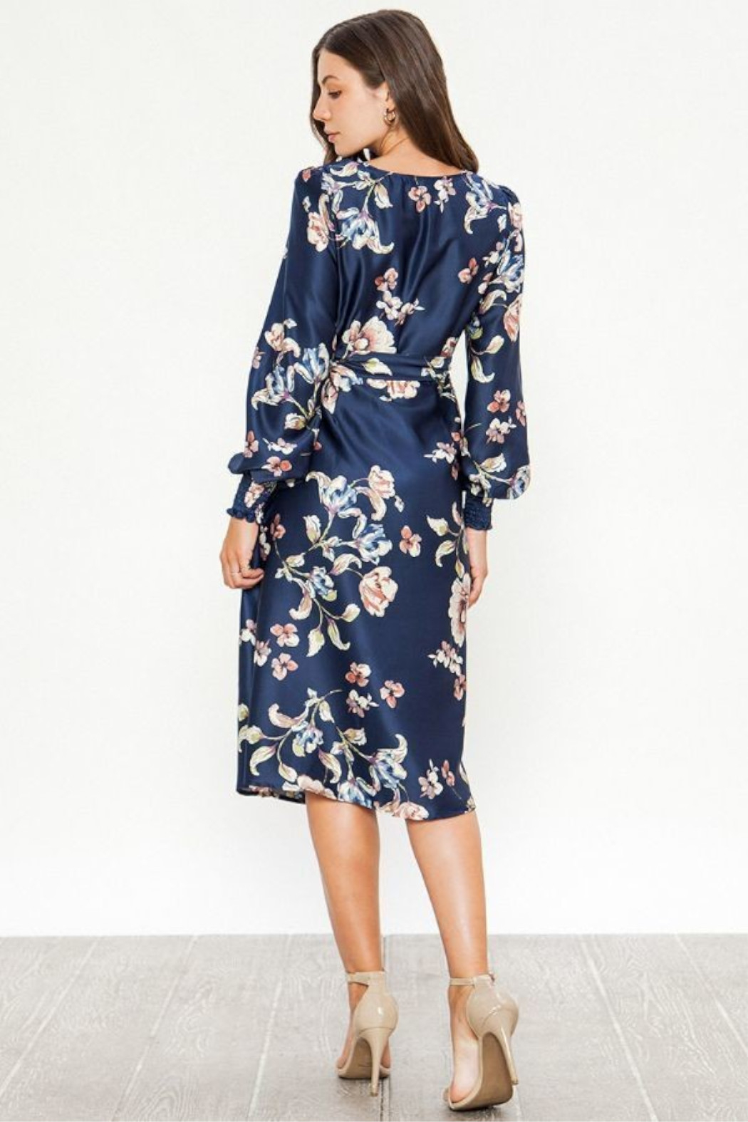 Flying Tomato  Satin Floral Dress - Side Cropped Image