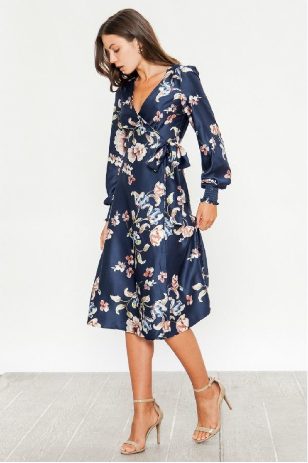 Flying Tomato  Satin Floral Dress - Front Full Image