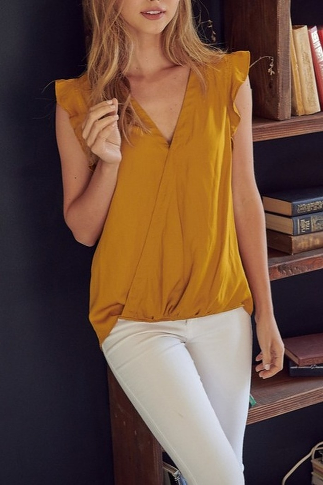 Mustard Seed  Satin Flutter Sleeve Top - Front Cropped Image