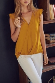 Mustard Seed  Satin Flutter Sleeve Top - Product Mini Image
