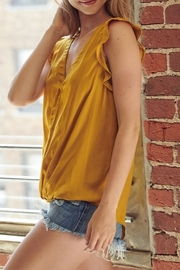 Mustard Seed  Satin Flutter Sleeve Top - Front full body