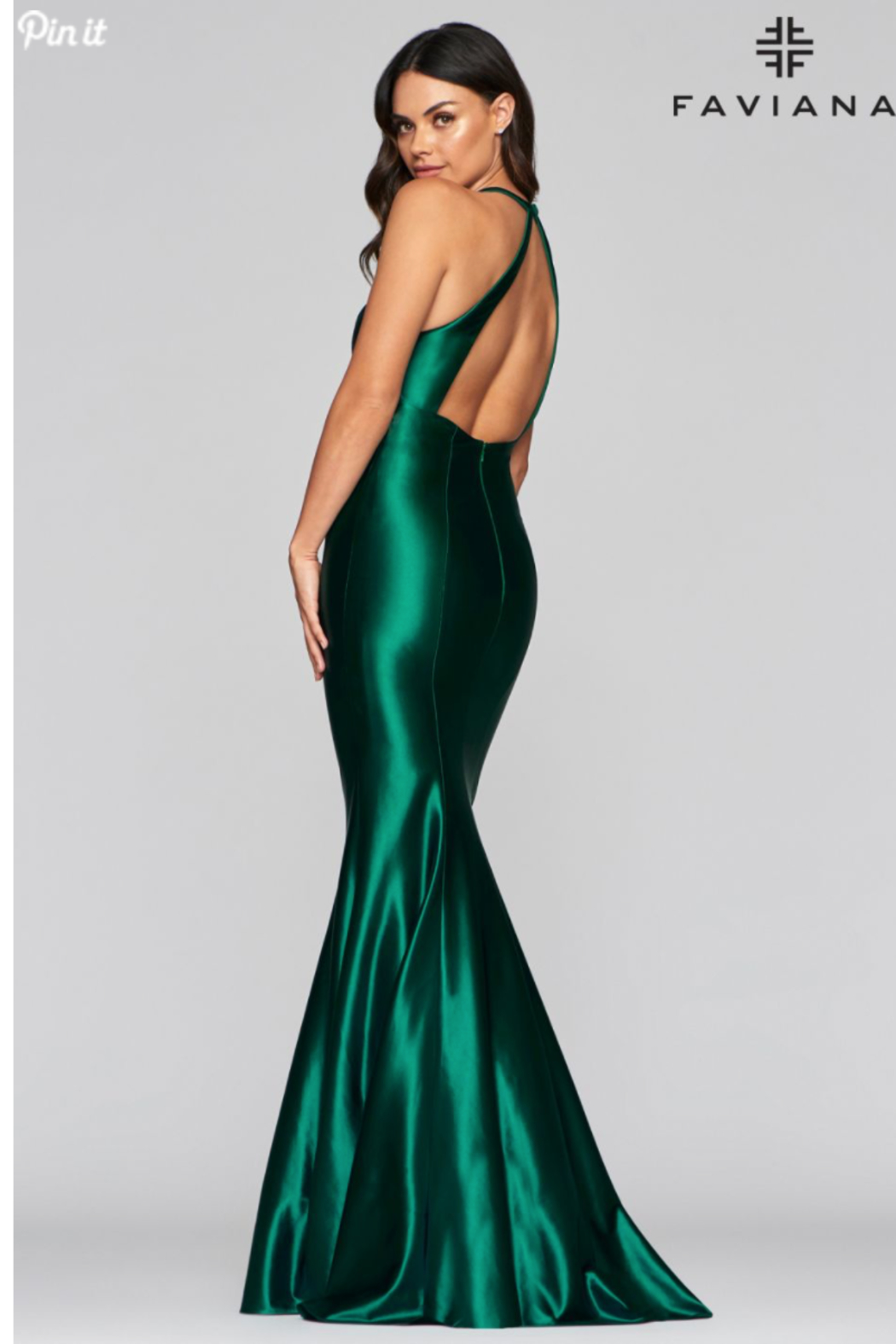 Faviana Satin Halter Gown - Front Full Image
