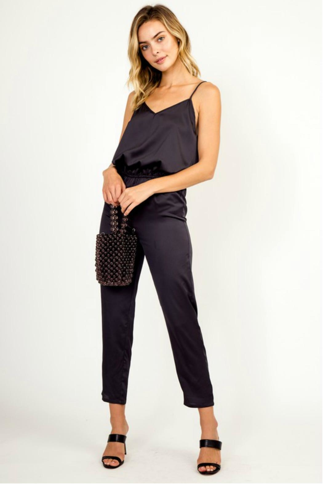 Olivaceous Satin Jumpsuit - Front Cropped Image