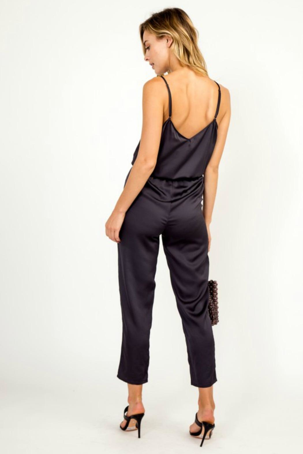 Olivaceous Satin Jumpsuit - Side Cropped Image