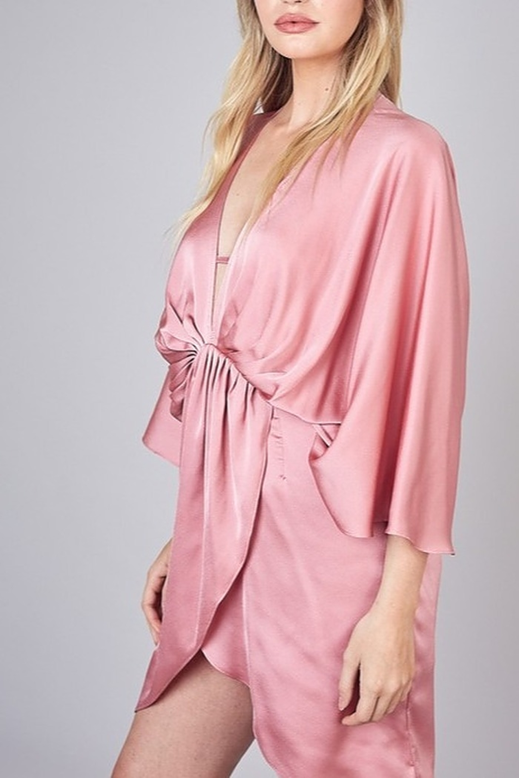Do & Be Satin Kimono Dress - Front Full Image